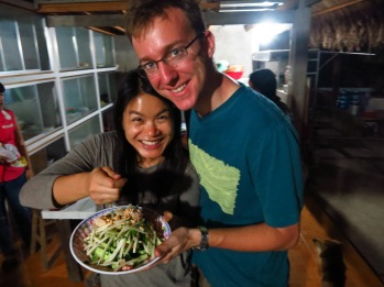 Holly and I having prepared a lotus root salad to have with our feast for dinner!