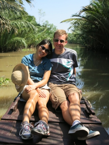 Holly and I on the first of many sampan rides through the delta!