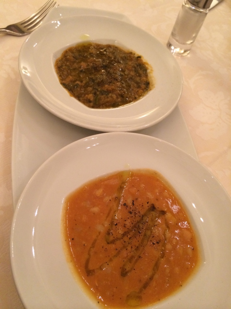 Tuscan soups to start at fantastic L'Osteria di Giovanni.