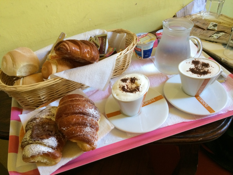 Our breakfast - pastries and delicious smiley face cappuccinos - at the Ridolfi guesthouse